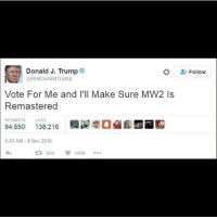 Memes, 🤖, and Mw2: Donald J. Trump  2: Follow  @realDonald Trump  Vote For Me and I'll Make Sure MW2 ls  Remastered  RETWEETS LIKES  RR  94.650  6:43 AM 8 Nov 2016  95K 140K 🤔🤔😂 (Sent in- @gab.345)