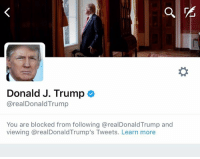Memes, 🤖, and Donald-J-Trump: Donald J. Trump  arealDonald Trump  You are blocked from following arealDonaldTrump and  viewing arealDonald Trump's Tweets. Learn more I'm now officially blocked by President Donald J. Trump on Twitter. One can reach no higher achievement online.