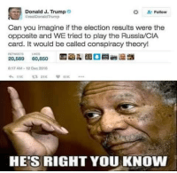 Clock, Memes, and Russia: Donald J. Trump  Follow  arealDonaldThump  Can you imagine if the election results were the  opposite and WE tried to play the Russia/CIA  card. It would be called conspiracy theory!  20,589  60,850  8:17 AM-12 Dec 2018  HE'S RIGHT YOU KNOW Damn Broken Clock