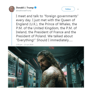 """Donald Trump, England, and Prince: Donald J. Trump  Follow  @realDonaldTrump  I meet and talk to """"foreign governments""""  every day. I just met with the Queen of  England (U.K.), the Prince of Whales, the  P.M. of the United Kingdom, the P.M. of  Ireland, the President of France and the  President of Poland. We talked about  """"Everything!"""" Should I immediately...  1:59 pm - 13 Jun 2019 Meeting with the Prince of Whales"""