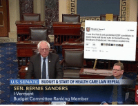 Bernie Sanders retweets Trump: Donald J. Trump  o  I was the first & only potential GOP candidate to  state there will be no cuts to Social Security,  Medicare & Medicaid. Huckabee copied me.  254  375  U.S. SENATE  BUDGET & START OF HEALTH CARE LAW REPEAL  SEN. BERNIE SANDERS  I-Vermont  Budget Committee Ranking Member Bernie Sanders retweets Trump