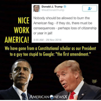 "Memes, American Flag, and First Amendment: Donald J. Trump  @rea Donald Trump  Nobody should be allowed to burn the  NICE  American flag if they do, there must be  WORK  consequences perhaps loss of citizenship  or year in jail!  AMERICA!  3:55 AM 29 Nov 2016  We have gone from a Constitutional scholar as our President  to a guy too stupid to Google: ""the first amendment.""  A AMERICAN NEWSX And the sad thing is that his supporters agree with him. I guess the whole we must live by the Constitution didn't mean squat if it doesn't suit their agenda. ~Rick  Thanks to American News X"