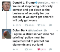 "Business, Trump, and Dolan: Donald J. Trump @realDo. .5hv  We must stop being politically  correct and get down to the  business of security for our  people. If we don't get smart it  will only get worse  18.7K 42.8K 126K  Dolan Dark @DolanDark 5h  l agree, a strict server wide ""no  griefing"" policy must be  implemented to protect our  diamonds and our land  21  35 2,013 <p>NO GRIE🅱️ING</p>"