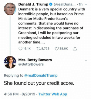 (S): Donald J. Trump@realDona... 1h  Denmark is a very special country with  incredible people, but based on Prime  Minister Mette Frederiksen's  comments, that she would have no  interest in discussing the purchase of  Greenland, I will be postponing our  meeting scheduled in two weeks for  another time....  t8,723  38.6K  16.1K  Mrs. Betty Bowers  @Betty Bowers  Replying to @realDonaldTrump  She found out your credit score.  4:56 PM 8/20/19 Twitter Web App (S)