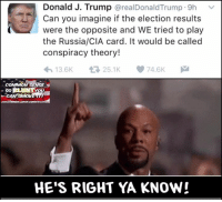 Memes, Common, and Russia: Donald J. Trump  @realDonaldTrump 9h  Can you imagine if the election results  were the opposite and WE tried to play  the Russia/CIA card. It would be called  conspiracy theory!  74.6K  25.1K  13.6K  COMMON  SE  so  iTHERCOMMONSENSEMcONSERV  HE'S RIGHT YA KNOW! (H)