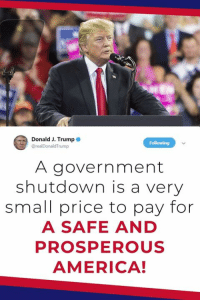 America, Trump, and Government: Donald J. Trump  @realDonaldTrump  A government  shutdown is a very  small price to pay for  A SAFE AND  PROSPEROUS  AMERICA! Border security is national security, and national security is the long-term viability of our country. A government shutdown is a very small price to pay for a SAFE and PROSPEROUS America!