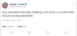 Another One, Tumblr, and Blog: Donald J. Trump  @realDonaldTrump  Any president that tries meeting with Putin is a tyrant and  should not be president!!  1:53 PM Jun 17, 2014  24K Retweets  17.4K Likes memehumor:  Another one of Trump's tweets that didn't age well