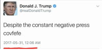 HAPPY COVFEFE DAY!: Donald J. Trump  @realDonaldTrump  Despite the constant negative press  covfefe  2017-05-31, 12:06 AM HAPPY COVFEFE DAY!