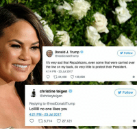 "After 9 years, it appears Chrissy Teigen has finally pushed Donald Trump over the edge on Twitter. ⠀ ⠀ The Sports Illustrated model revealed to her followers that Trump blocked her on the mico-blogging app, and she has a hunch it was her tweet saying, ""Lolllllll no one likes you"" that did it. ⠀ ⠀ (image via @gettyimages): Donald J. Trump  @realDonaldTrump  Follow  It's very sad that Republicans, even some that were carried over  the line on my back, do very little to protect their President.  4:14 PM-23 Jul 2017  34,468 0 129,698  Christine teigen  @chrissyteigen  (ゾFollow  Replying to @realDonaldTrump  LollllIno one likes you  4:21 PM 23 Jul 2017  9 5,714 27,121 After 9 years, it appears Chrissy Teigen has finally pushed Donald Trump over the edge on Twitter. ⠀ ⠀ The Sports Illustrated model revealed to her followers that Trump blocked her on the mico-blogging app, and she has a hunch it was her tweet saying, ""Lolllllll no one likes you"" that did it. ⠀ ⠀ (image via @gettyimages)"