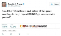 Sex, How To, and Trump: Donald J. Trump  @realDonaldTrump  Follow  To all the TDS sufferers and haters of this great  country, do not, I repeat DO NOT go have sex with  yourself!  RETWEETS LIKES  5:56 PM 16 Sep 2018  わ  L3