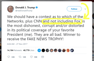memehumor:  Really?: Donald J. Trump  @realDonaldTrump  Follow  We should have a contest as to which of the  Networks, plus CNN and not includina Fox, is  the most dishonest, corrupt and/or distorted  in its political coverage of your favorite  President (me). They are all bad. Winner to  receive the FAKE NEWS TROPHY!  6:04 AM-27 Nov 2017  14,164 Retweets 49,779 Likes  34K  14K  50K memehumor:  Really?