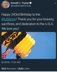 thank you gif: Donald J. Trump  @realDonaldTrump  Happy 243rd Birthday to the  @USArmy! Thank you for your bravery,  sacrifices, and dedication to the U.S.A  We love you!  GIF  6/14/18, 11:33 AM  543 Retweets 1,842 Likes