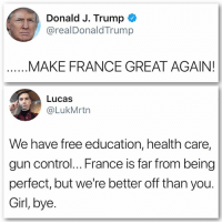 Being Perfect: Donald J. Trump  @realDonaldTrump  MAKE FRANCE GREAT AGAIN!  Lucas  @LukMrtn  We have free education, health care,  gun control... France is far from being  perfect, but we're better off than you.  Girl, bye.