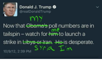 tailspin: Donald J. Trump  realDonaldTrump  my  Now that Obama's poll numbers are in  me  tailspin watch for him to launch a  strike in Libya er ran. He is desperate.  Syria T'm  10/9/12, 2:39 PM