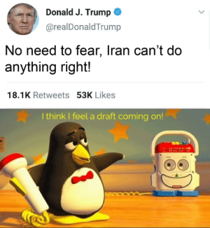 Are you ready: Donald J. Trump  @realDonaldTrump  No need to fear, Iran can't do  anything right!  18.1K Retweets 53K Likes  I think I feel a draft coming on!  13) Are you ready