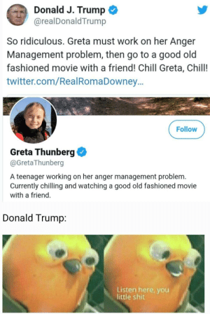 srsfunny:  He would probably complain about copying: Donald J. Trump  @realDonaldTrump  So ridiculous. Greta must work on her Anger  Management problem, then go to a good old  fashioned movie with a friend! Chill Greta, Chill!  twitter.com/RealRomaDowney..  Follow  Greta Thunberg  @GretaThunberg  A teenager working on her anger management problem.  Currently chilling and watching a good old fashioned movie  with a friend.  Donald Trump:  Listen here, you  little shit srsfunny:  He would probably complain about copying