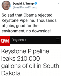 Wow, who would have thought?: Donald J. Trump  @realDonaldTrump  So sad that Obama rejected  Keystone Pipeline. Thousands  of jobs, good for the  environment, no downside!  CNN Regions +  Keystone Pipeline  leaks 210,000  gallons of oil in South  Dakota Wow, who would have thought?