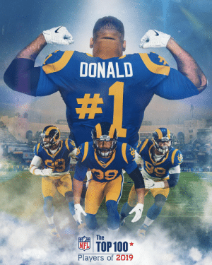 No. 99 comes in at No. 1.  @AaronDonald97 is the top-ranked player in the NFL! #NFLTop100 https://t.co/niFyHX3gIq: DONALD  #RA  The  NFTOP100  Players of 2019 No. 99 comes in at No. 1.  @AaronDonald97 is the top-ranked player in the NFL! #NFLTop100 https://t.co/niFyHX3gIq