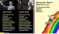 """(GC): DONALD TRUMP  ADOLF HITLER  Used racism to rise  Uses racism to rise  to power  to power  Proposed mass  Proposes mass  deportations  deportations  Promised to make  Promises to make  Germany """"great again  America """"great again  Anti-Jew Fascist  Anti-Muslim Fascist  Blamed Jews for  Blames immigrants for  Germany's problems  America's problems  Thinks Muslims should  Thought Jews should  -T  wear special ID's  wear special ID's  OCCUPY  DEMOCRATS  Everyone I Don't  Like is HITLER!  The Emotional child's  Guide to  Political  Discussion (GC)"""