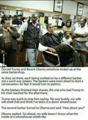 "Barber, Barbershop, and Donald Trump: Donald Trump and Barack Obama somehow ended up at the  same barbershop.  As they sat there, each being worked on by a different barber,  not a word was spoken. The barbers were even afraid to start a  conversation, for fear it would turn to politics.  As the barbers finished their shaves, the one who had Trump in  his chair reached for the aftershave.  Trump was quick to stop him saying, 'No way buddy, my wife  will smell that and think I've been in a damn whorehouse.  The second barber turned to Obama and said, 'How about you?""  Obama replied, Go ahead, my wife doesn't know what the  inside of a whorehouse smells like Politics"