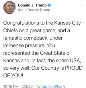 """Donald Trump deletes tweet to congratulate """"The Great State of Kansas"""" on the Kansas City Chiefs Super Bowl victory: Donald Trump deletes tweet to congratulate """"The Great State of Kansas"""" on the Kansas City Chiefs Super Bowl victory"""