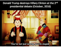 Donald Trump, Hillary Clinton, and Trump: Donald Trump destroys Hillary Clinton at the 2nd  presidential debate (October, 2016)  HE AMAZING  You're not iust wrong you're stupid.