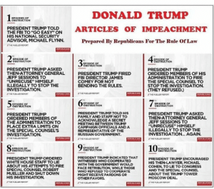 """Donald Trump, Family, and Fbi: DONALD TRUMP  EPISODES OF  OBSTRUCTION  PRESIDENT TRUMP TOLD  THE FBI TO """"GO EASY"""" ON  HIS NATIONAL SECURITY  ADVISOR, MICHAEL FLYNN.  ARTICLES F IMPEACHMENT  Prepared By Republicans For The Rule Of Law  THEMUELLER REPORT  REPUBLICANS  23  EPISODE OF  OBSTRUCTION  ISODE OF  OBSTRUCTION  3  EPISODE OF  OBSTRUCTION  PRESIDENT TRUMP ASKED  THEN-ATTORNEY GENERAL  JEFF SESSIONS TO  """"UNRECUSE"""" HIMSELF  ILLEGALLY TO STOP THE  INVESTIGATION.  PRESIDENT TRUMP  ORDERED MEMBERS OF HIS  ADMINISTRATION TO FIRE  THE SPECIAL COUNSEL TO  STOP THE INVESTIGATION  (THEY REFUSED.)  THEMUELLER EPORT  PRESIDENT TRUMP FIRED  FBI DIRECTOR JAMES  COMEY FOR NOT  BENDING THE RULES  REPUBLICANS  THE MUELER REPORT  REPUBLICANS  #THE MUELLER REPORT  REPUBLICANS  5 %  75  EPISODE OF  OBSTRUCTION  EPISODE OF  OBSTRUCTION  EPISODE OF  OBSTRUCTION  PRESIDENT TRUMP TOLD HIS  FAMILY AND STAFF NOT TO  ACKNOWLEDGE A SECRET  MEETING BETWEEN TRUMP  CAMPAIGN OFFICIALS AND A  REPRESENTATIVE OF THE  RUSSIAN GOVERNMENT  THEMUELER REPORT  PRESIDENT TRUMP ASKED  THEN-ATTORNEY GENERAL  JEFF SESSIONS TO  """"UNRECUSE"""" HIMSELF  ILLEGALLY TO STOP THE  INVESTIGATION... AGAIN  PRESIDENT TRUMP  ORDERED MEMBERS OF  THE ADMINISTRATION TO  PLACE EXTRA LIMITS ON  THE SPECIAL COUNSEL'S  INVESTIGATION  REPUBLICANS  REPUBLICANS  msecor  THEMELLER PEPORT  REPUBLICANS  i  THEMUELLER REPORT  93  10  85  EPISODE OF  OBSTRUCTION  EPISODE OF  OBSTRUCTION  EPISODE OF  OBSTRUCTION  PRESIDENT TRUMP INDICATED THAT  WITNESSES WHO COOPERATED  WITH THE GOVERNMENT WOULD  FACE RETRIBUTION, WHILE THOSE  WHO REFUSED TO COOPERATE  MIGHT RECEIVE PARDONS OR  PRESIDENT TRUMP ORDERED  WHITE HOUSE STAFF TO LIE  ABOUT HIS ATTEMPTS TO FIRE  SPECIAL COUNSEL ROBERT  MUELLER AND SHUT DOWN  HIS INVESTIGATION.  PRESIDENT TRUMP ENCOURAGED  HIS THEN-LAWYER, MICHAEL  COHEN, TO LIE TO CONGRESS  AND THE SPECIAL COUNSEL  ABOUT THE TRUMP TOWER  MOSCOW DEAL  OTHER FAVORS.  #THE MULLER ocoRT  REPUBLICANS  THEMUELLER REPORT  REPUBLICANS"""