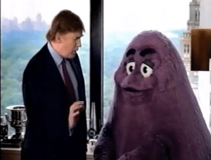 Donald Trump, Fast Food, and Food: Donald Trump Gropes Beloved Fast Food Mascot Grimace (2005)