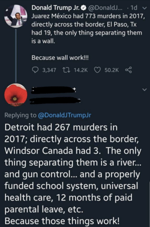 Detroit, Donald Trump, and School: Donald Trump Jr.@Donald.. 1d  Juarez México had 773 murders in 2017,  directly across the border, El Paso, Tx  had 19, the only thing separating them  is a wall.  Because wall work!!!  14.2K  50.2K  3,347  Replying to @DonaldJTrumpJr  Detroit had 267 murders in  2017; directly across the border,  Windsor Canada had 3. The only  thing separating them is a rive...  and gun control... and a properly  funded school system, universal  health care, 12 months of paid  parental leave, etc.  Because those things work! Wall work!!!!