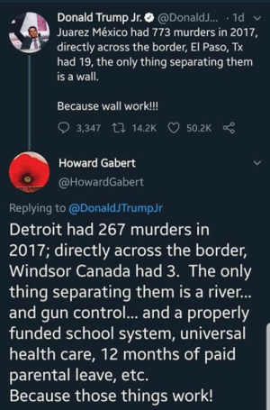 Donald Trump, Dumb, and Fucking: Donald Trump Jr. @DonaldJ... 1d  Juarez México had 773 murders in 2017,  directly across the border, El Paso, Tx  had 19, the only thing separating them  is a wall.  Because wall work!!!  3,347 14.2K  50.2K  Howard Gabert  @HowardGabert  Replying to @DonaldJTrumpJr  troit had 267 murders in  2017; directly across the border,  Windsor Canada had 3. The only  thing separating them is a rive...  and gun control... and a properly  funded school system, universal  health care, 12 months of paid  parental leave, etc.  Because those things work! Just as fucking dumb as his loser father...