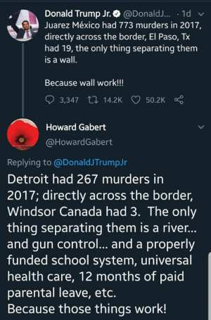 Detroit, Donald Trump, and School: Donald Trump Jr.@DonaldJ... 1d  Juarez México had 773 murders in 2017,  directly across the border, El Paso, Tx  had 19, the only thing separating them  is a wall.  Because wall work!!!  3,347 14.2K  50.2K  Howard Gabert  @HowardGabert  Replying to @DonaldJTrumpJr  Detroit had 267 murders in  2017; directly across the border,  Windsor Canada had 3. The only  thing separating them is a river...  and gun control... and a properly  funded school system, universal  health care, 12 months of paid  parental leave, etc.  Because those things work! murdered by words