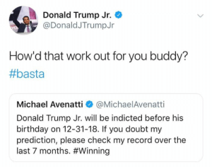 (GC): Donald Trump Jr.  @DonaldJTrumpJr  How'd that work out for you buddy?  #basta  Michael Avenatti @MichaelAvenatti  Donald Trump Jr. will be indicted before his  birthday on 12-31-18. If you doubt my  prediction, please check my record over the  last 7 months. (GC)