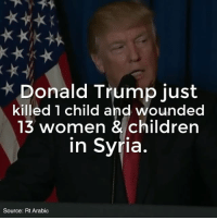 America, Children, and Donald Trump: Donald Trump just  killed 1 child and wounded  13 women & children  in Syria  Source: Rt Arabic 💭 Does killing children, in retaliation to the killing of children, make America Great? 💭🤔🤔🤔💭 Join Us: @TheFreeThoughtProject 💭 TheFreeThoughtProject NoWarWithSyria Trump WWIII Syria WarCriminal 💭 LIKE our Facebook page & Visit our website for more News and Information. Link in Bio.... 💭 www.TheFreeThoughtProject.com