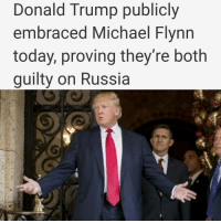 Memes, Front Row, and 🤖: Donald Trump publicly  embraced Michael Flynn  today, proving they're both  guilty on Russia This was a day when Donald Trump should have fired National Security Advisor Michael Flynn without thinking twice. Flynn was caught red handed over the weekend having colluded with the Russian government both before and after election day. Firing him today would have scuttled Trump's Russia scandal for awhile. There was even the opportunity to bury Flynn's firing within the larger story of the Canadian Prime Minister being in town. Instead Trump made a point of doing the precise opposite, embracing Flynn today – and now we know they're both guilty. Donald Trump walked into his Canadian joint press conference this afternoon, went directly up to Michael Flynn, who was conspicuously seated in the front row, and made a point of shaking his hand while the cameras in the room were all watching. The handshake was broadcast live by CNN among others. The message could not have been more clear: whatever Trump thinks of Flynn, he afraid of the consequences of him. And this came less than a full day after Trump had told advisors that he was planning to ban Flynn from the White House. But instead of going through with it, Trump made a point of marrying himself to Flynn today for all to see. The revelations about Flynn have now given Trump's detractors, both in the government and among the public, a tangible basis for continuing to shine a light on Trump's election collusion with Russia. So long as Trump doesn't fire Flynn, that spotlight will continue to grow hotter, and burn Trump eventually. He knows it, and yet he's embracing Flynn in the White House anyway. That tells us they're both guilty – and the impeachment clock is ticking.🕕 ____________________________________________________ hillary hillaryclinton hillary2020 notmypresident trumpprotest hillaryforamerica hillaryforpresident womenforhillary likeforlike latinosforhillary donaldtrump imwithher alternativ