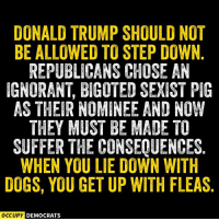 Ignorant, Memes, and Ups: DONALD TRUMP SHOULD NOT  BE ALLOWED TO STEP DOWN  REPUBLICANS CHOSE AN  IGNORANT, BIGOTED SEXIST PIG  AS THEIR NOMINEE AND NOW  THEY MUST BE MADE TO  SUFFER THE CONSEQUENCES  WHEN YOU LIE DOWN WITH  DOGS, YOU GET UP WITH FLEAS  OCCUPY DEMOCRATS Amen!