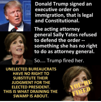Bye Felicia, Memes, and Conservative: Donald Trump signed an  executive order on  immigration, that is legal  and Constitutional.  The acting attorney  general Sally Yates refused  to defend the order  something she has no right  to do as attorney general.  So  Trump fired her.  UNELECTED BUREAUCRATS  HAVE NO RIGHT TO  SUBSTITUTE THEIR  JUDGMENT FOR THE  ELECTED PRESIDENT.  FITTED  THIS IS WHAT DRAINING THE  SWAMP IS ABOUT. 💀 Bye Felicia 👊💀👍 UncleSamsMisguidedChildren 💀 Check out our store. Link in bio. 💀 LIKE our Facebook page 💀 Subscribe to our YouTube Channel 💀 Visit our website for more News and Information. 💀 www.UncleSamsMisguidedChildren.com 💀 Tag and Join our Misguided Family @unclesamsmisguidedchildren Use code USMCNATION10 for 10% off MisguidedLife MisguidedNation USMCNation Apparel PewPewLife 2A Military MolonLabe veteran Troops MAGA Veterans AirForce Gun Capitalism USMC ARMY Navy K9 Infantry Grunt Guns Police Operator DonaldTrump Conservative Republican TrumpTrain TRUMP45