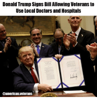 """America, Definitely, and Donald Trump: Donald Trump Signs Bill Allowing Veterans to  Use Local Doctors and Hospitals  @american veterans The bill allows veterans to seek private care outside of the VA system, if they live more than 40 miles away from a VA hospital or can't get an appointment within 30 days. """"Some people have to travel five hours, eight hours, and they'll have to do it on a weekly basis, and even worse than that,"""" Trump said. """"It's not going to happen anymore."""" This's definitely good news! americanveterans veterans usveterans usmilitary usarmy supportveterans honorvets usvets america usa patriot uspatriot supportourtroops godblessourtroops ustroops americantroops semperfi military remembereveryonedeployed deplorables deployed starsandstripes americanflag usflag respecttheflag marines navy airforce donaldtrump trump"""