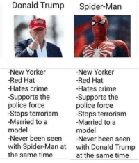 Crime, Donald Trump, and Police: Donald Trump Spider-Man  -New Yorker  -Red Hat  -Hates crime  -Supports the  police force  -Stops terrorism  Married to a  model  -Never been seen Never been seen  with Spider-Man at with Donald Trump  the same time  -New Yorker  -Red Hat  -Hates crime  Supports the  police force  Stops terrorism  Married to a  model  at the same time