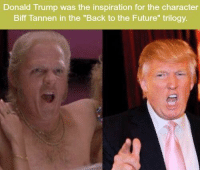 "Back to the Future, Donald Trump, and Future: Donald Trump was the inspiration for the character  Biff Tannen in the ""Back to the Future"" trilogy. https://t.co/mXLiVVSthS"