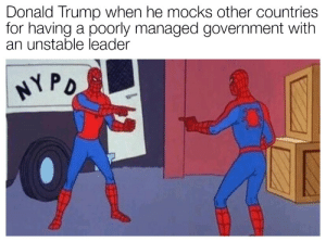 Dank, Donald Trump, and Memes: Donald Trump when he mocks other countries  for having a poorly managed government with  an unstable leader This is for humor - not a political statement by PungentMayo MORE MEMES