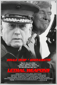 "Memes, Stephen, and Warner Bros.: DONALD TRUMPGENERALMATTI  One is the presldent  One Is a badass general  Together, they wIll show a fat  Korean kld that they are...  IEIHAL  WARNER BROS. Presents MEL GIBSON DANNY GLOVER  A SILVER PICTURES Production ARICHARD DONNER Fim ""LETHAL WEAPON""  GARY BUSEY Film Editor STUART BAIRD Production Designer J. MICHAEL RIVA  Director of Photography STEPHEN GOLDBLAT MSKby MICHAEL KAMEN and ERIC CLAPTON  Whitten by SHANE BLACK Produced by RICHARD DONNER and JOEL SILVER Directed by RICHARD DONNER ~Jimmons"