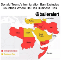 "9/11, Memes, and Cato: Donald Trump's Immigration Ban Excludes  Countries Where He Has Business Ties  @balleralert  Azerbaijan  Turkey  Syria  Iraq  Egypt  Libya  Saudi  UAE.  Arabia  Sudan  Yemen  Immigration Ban  Somalia  Business Ties Donald Trump's Immigration Ban Excludes Countries Where He Has Business Ties -blogged by @BenitaShae ⠀⠀⠀⠀⠀⠀⠀⠀⠀ ⠀⠀⠀⠀⠀⠀⠀⠀⠀ President DonaldTrump signed an executive order banning immigration from seven countries, all of which are predominantly Muslim. The countries in question are Iraq, Syria, Iran, Sudan, Libya, Somalia and Yemen. ⠀⠀⠀⠀⠀⠀⠀⠀⠀ ⠀⠀⠀⠀⠀⠀⠀⠀⠀ During the signing, Trump said, ""I am establishing new vetting measures to keep radical Islamic terrorists out of the United States of America."" ⠀⠀⠀⠀⠀⠀⠀⠀⠀ ⠀⠀⠀⠀⠀⠀⠀⠀⠀ However, over the past four decades, there hasn't been any deadly attacks on American soil that were orchestrated from immigrants from any of those seven banned countries. According to a report from the Cato Institute, no Americans have been killed in the past 15 years by Muslim Americans with family backgrounds in any of those countries. And it has been noted that zero of the 19 hijackers on 9-11 were from any of those seven countries. The report from the Cato Institute concluded that Trump's ban ""will have virtually no effect on improving U.S. national security."" ⠀⠀⠀⠀⠀⠀⠀⠀⠀ ⠀⠀⠀⠀⠀⠀⠀⠀⠀ In SaudiArabia, Trump has eight companies registered that are connected to hotel interests. Trump's name is currently licensed to two luxury buildings in Instanbul, Turkey, and he is reportedly linked to two companies in Egypt. As for the United Arab Emirates, Trump has a management deal for a luxury golf club in Dubai."