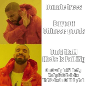 Reddit RN: Donate trees  Boycott  Chinese goods  OmG TEaM  TREES Is FailINg  OmG wHy IsNt HoNg  KONG ProtESTeRs  ThE PeRsOn Of THE YEAR Reddit RN