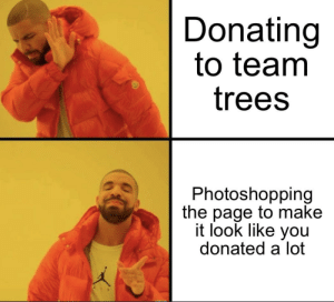 Trees, Page, and Team: Donating  to team  trees  Photoshopping  the page to make  it look like you  donated a lot Don't hurt me
