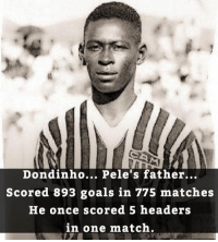What! 😱😂 🔺FREE LIVE FOOTBALL APP -> LINK IN BIO!! Credit ➡️ @thefootballarena: Dondinho... Pele's father...  Scored 893 goals in 775 matches  He once scored 5 headers  in one match What! 😱😂 🔺FREE LIVE FOOTBALL APP -> LINK IN BIO!! Credit ➡️ @thefootballarena