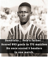 Did You Know ? 😱 ... 🔺FREE FOOTBALL EMOJI'S --> LINK IN OUR BIO!!! ➡️Credit: @thefootballarena: Dondinho... Pele's father...  Scored 893 goals in 775 matches  He once scored 5 headers  in one match. Did You Know ? 😱 ... 🔺FREE FOOTBALL EMOJI'S --> LINK IN OUR BIO!!! ➡️Credit: @thefootballarena