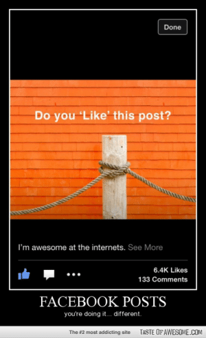 Is it wrong? I can't tellhttp://omg-humor.tumblr.com: Done  Do you 'Like' this post?  I'm awesome at the internets. See More  6.4K Likes  133 Comments  FACEBOOK POSTS  you're doing it... different.  TASTE OF AWESOME.COM  The #2 most addicting site Is it wrong? I can't tellhttp://omg-humor.tumblr.com