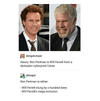 Memes, Will Ferrell, and Mega: dong stomper  theory: Ron Perlman is Will Ferrell from a  dystopian cyberpunk future  zilnogre  Ron Perlman is either:  Will Ferrell stung by a hundred bees  Will Ferrell's mega evolution WHEN W I L L IT END? - Max textpost textposts