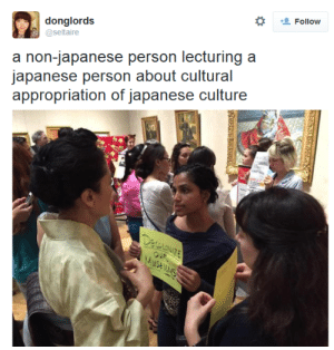 Target, Tumblr, and Blog: *  donglords  @seltaire  Follow  a non-japanese person lecturing a  appropriation of japanese culture metalgirlysolid: