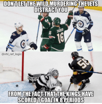 Logic, Memes, and National Hockey League (NHL): DONİT LET THE WILD MURDERINGTHEETS  DISTRACTYU  G4  16  @nhl_ref_logic  VAUGHN  53  FROM THE FACT THAT THE KINGS HAVE  SCOREDIGOALINO PERİODS Who else trying to watch both the Wild-Jets game and the Caps-Jackets game at the same time?